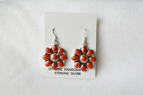Sterling silver coral flower dangle earrings. (E063)
