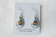 Sterling silver multi colored egg shape in silver oval dangle earrings. (E069)
