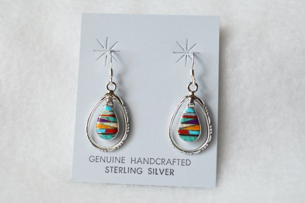 Sterling silver multi colored egg shape in silver oval dangle earrings. (E069)