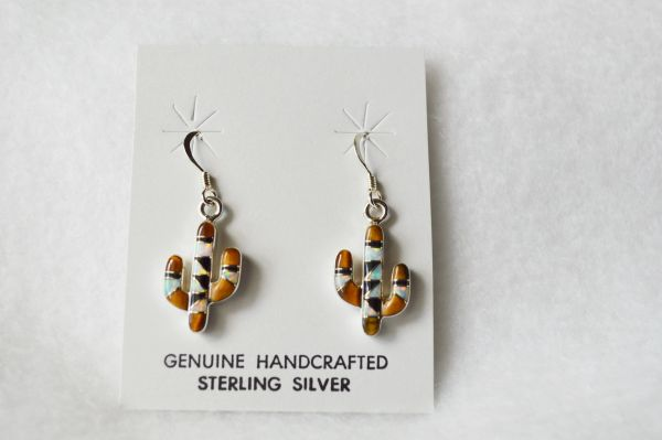 Sterling silver multi stone inlay cactus dangle earrings. (E071)