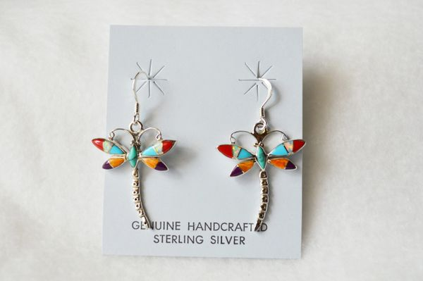 Sterling silver multi color dragon fly dangle earrings. E075