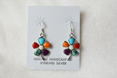 Sterling silver multi color flower dangle earrings. E076
