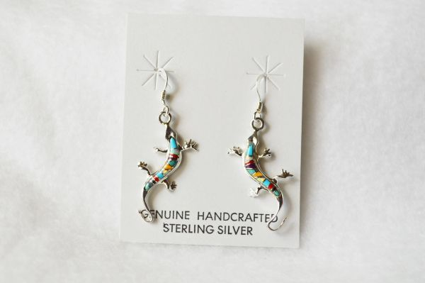 Sterling silver multi color lizard dangle earrings. E077