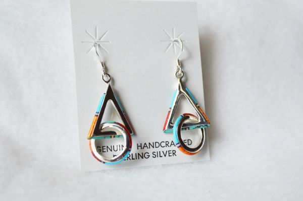 Sterling silver ring in triangle multi color dangle earrings. E080