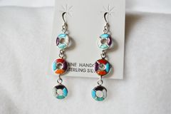 Sterling silver inlay 3 ring multi color dangle earrings. E081