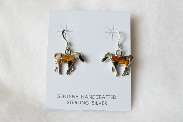Sterling silver inlay multi color horse dangle earrings. E091