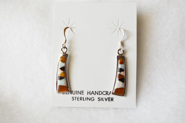 Sterling silver multi color inlay bent rectangle dangle earrings. E099