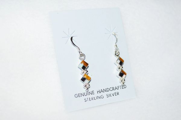 Sterling silver white opal, tiger eye and black onyx double diamond inlay dangle earrings. E149