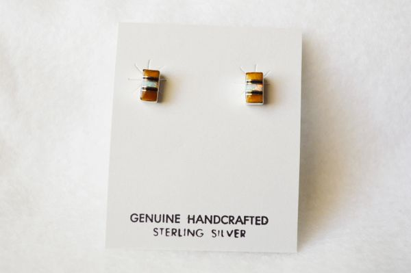 Sterling silver white opal, black onyx and tiger eye inlay rectangle post earrings. E150
