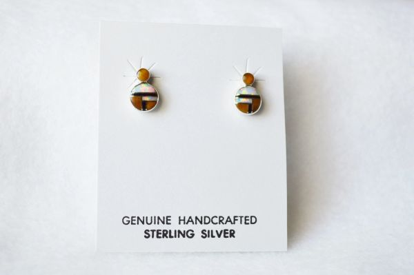 Sterling silver white opal, black onyx and tiger eye inlay round post earrings. E151