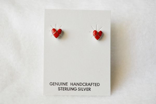 Sterling silver coral inlay heart post earrings. E154