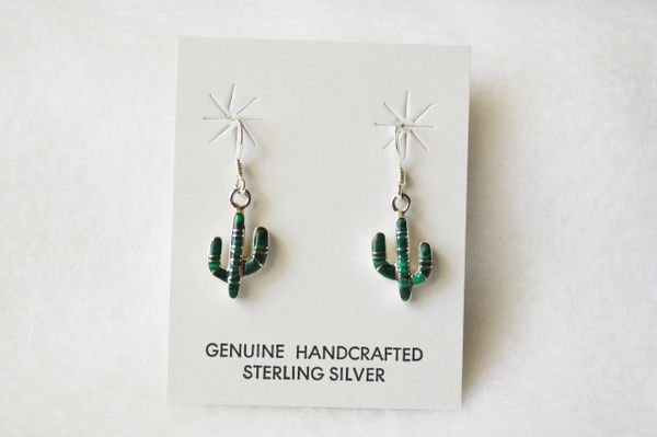 Sterling silver malachite inlay cactus dangle earrings. E159