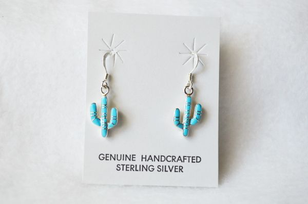Sterling silver turquoise inlay cactus dangle earrings. E160