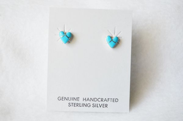 Sterling silver turquoise inlay heart post earrings. E162
