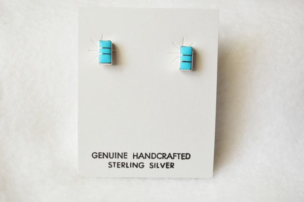 Sterling silver turquoise inlay rectangle post earrings. E165