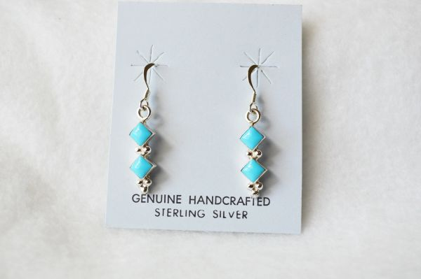 Sterling silver turquoise double diamond dangle earrings. E166