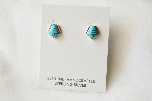 Sterling silver turquoise inlay polygon earrings. E167