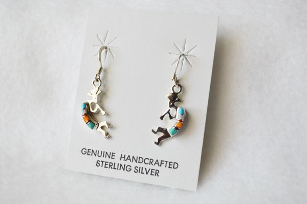Sterling silver turquoise, white opal, black onyx and more inlay kokopelli dangle earrings. E168