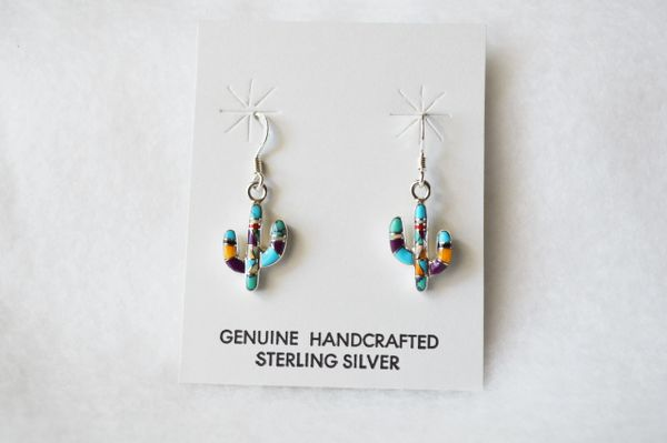 Sterling silver turquoise, sugilite, coral, black onyx, white opal and more dangle cactus earrings. E169