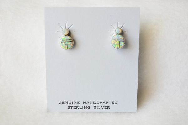 Sterling silver white opal inlay round earrings. E177