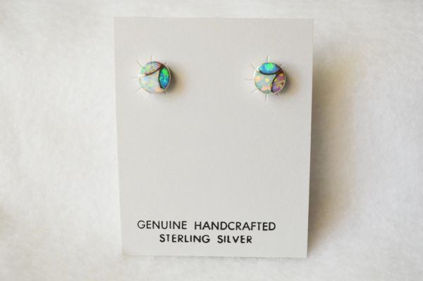 Sterling silver white, blue and pink opal inlay round earrings. E178