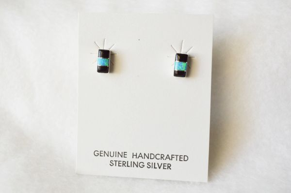 Sterling silver blue opal and black onyx inlay rectangle post earrings. E185
