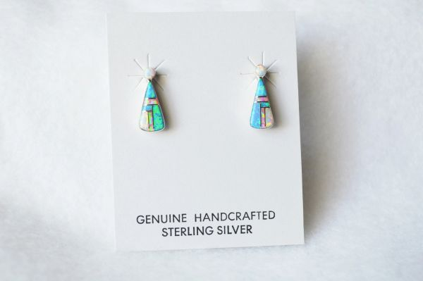 Sterling silver white, blue and pink opal inlay teardrop post earrings. E186