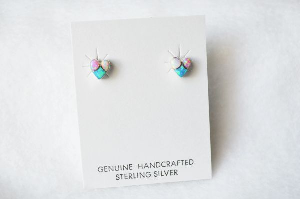 Sterling silver white, blue and pink opal inlay heart post earrings. E188