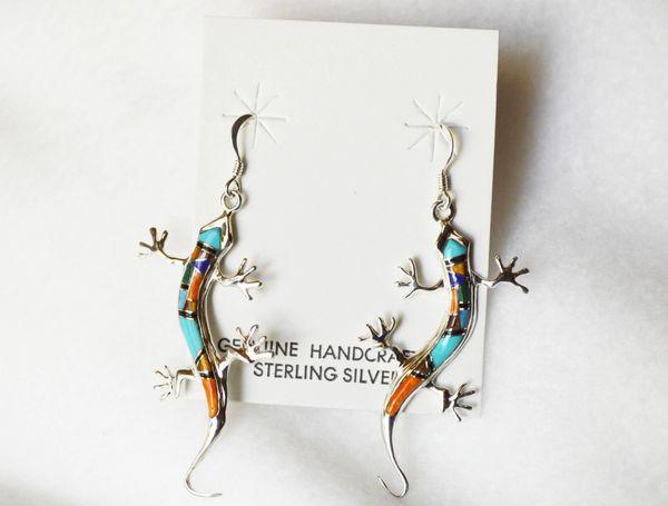 Sterling silver multi color inlay large lizard dangle earrings. E202
