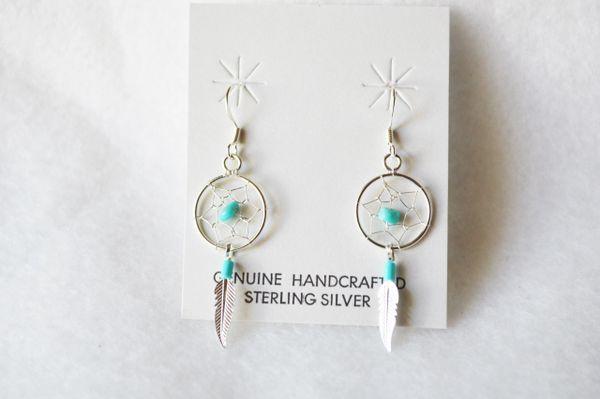 Sterling silver turquoise dream catcher dangle earrings. E203