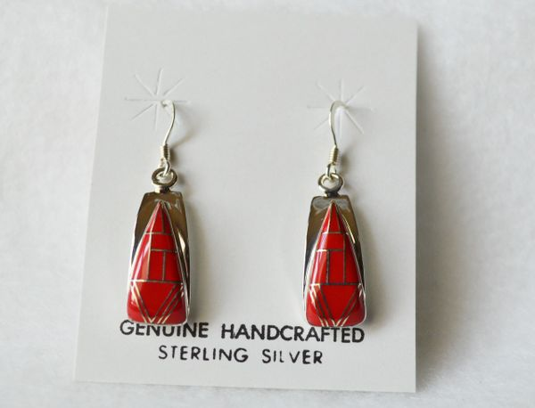 Sterling silver coral inlay candy corn earrings. (E064)