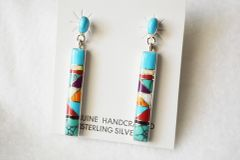 Sterling silver large multi color inlay bar post earrings. E213