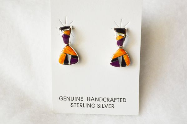 Sterling silver multi color inlay pick shaped post earrings. E219