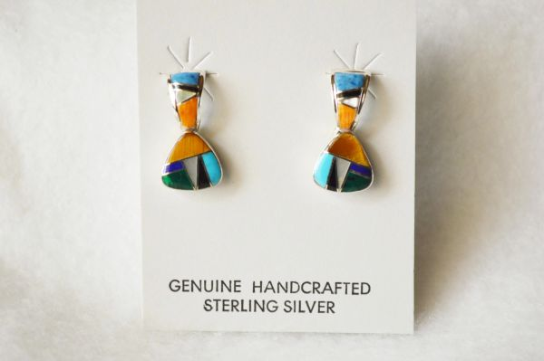 Sterling silver multi color inlay pick shaped post earrings. E221