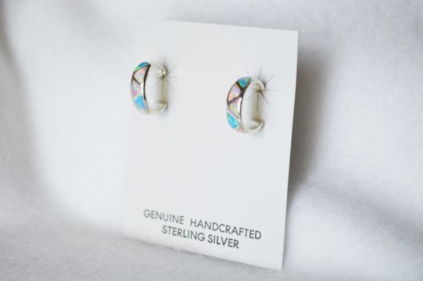 Sterling silver white, blue and pink opal inlay hoop earrings. E222