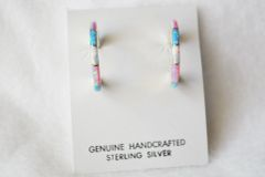 Sterling silver white, blue and pink opal inlay hoop earrings. E223