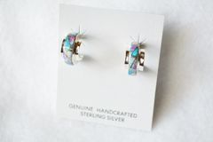 Sterling silver white, blue and pink opal inlay hoop earrings. E226
