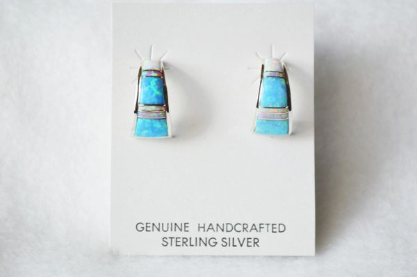 Sterling silver white, blue and pink opal inlay half hoop earrings. E227