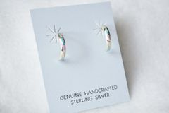 Sterling silver white, blue and pink opal inlay small hoop earrings. E228