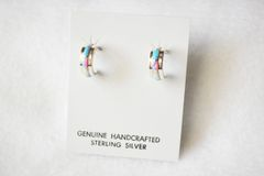 Sterling silver white, blue and pink opal inlay small hoop post earrings. E230
