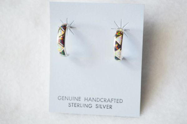 Sterling silver white and black opal inlay medium hoop post earrings. E233