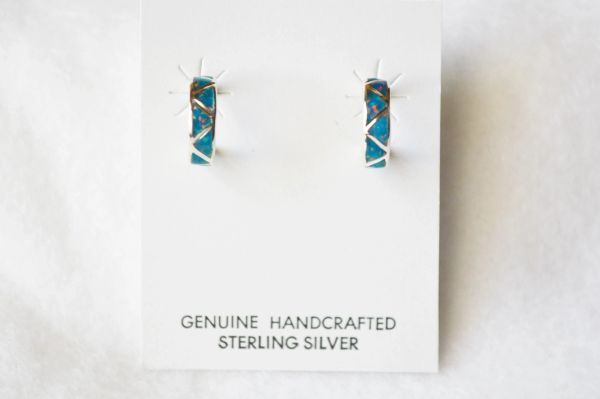 Sterling silver black opal inlay medium hoop post earrings. E234