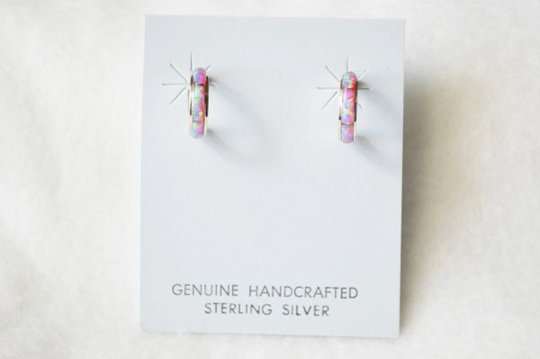 Sterling silver pink opal inlay small hoop post earrings. E244