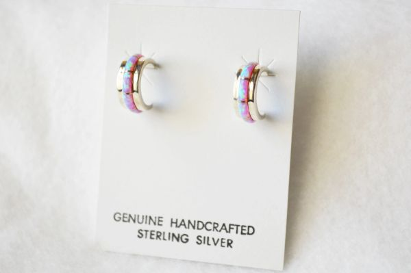 Sterling silver pink opal inlay small 1/2 hoop post earrings. E246