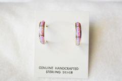 Sterling silver pink opal inlay medium tapered hoop post earrings. E249