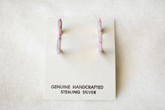 Sterling silver pink opal inlay medium/thin hoop post earrings. E250