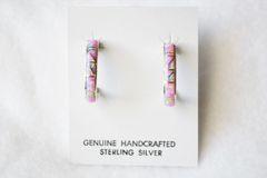 Sterling silver pink opal inlay medium 3/4 hoop post earrings. E251