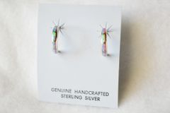 Sterling silver pink opal inlay small 1/2 hoop post earrings. E252