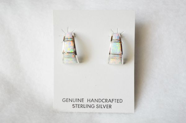 Sterling silver white opal inlay medium/wide 1/2 hoop post earrings. E254