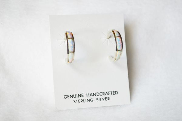 Sterling silver white opal inlay medium hoop tapered post earrings. E256
